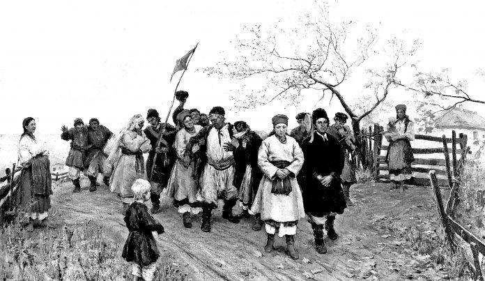 Микола Пимоненко (1862 – 1912). «Весілля в Київській губернії» (фрагмент) (1891)