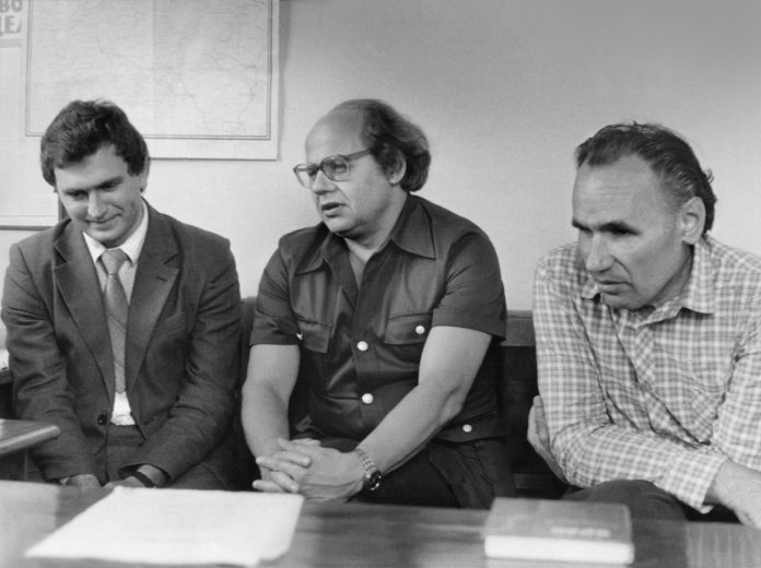 (справа наліво): Микола Кравчук, Іван Драч, Валерій Герасимчук. Літо 1984 року.