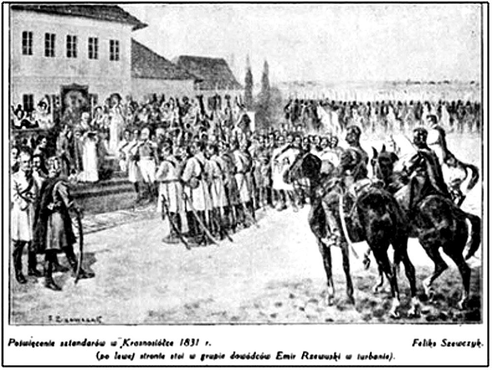 В. Ржевуський (зліва) в Красносілці під час Листопадового повстання 1831 р.